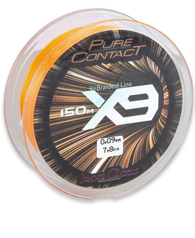 Iron Claw šňůra Pure Contact X9 0,09 mm/1500 m oranžová