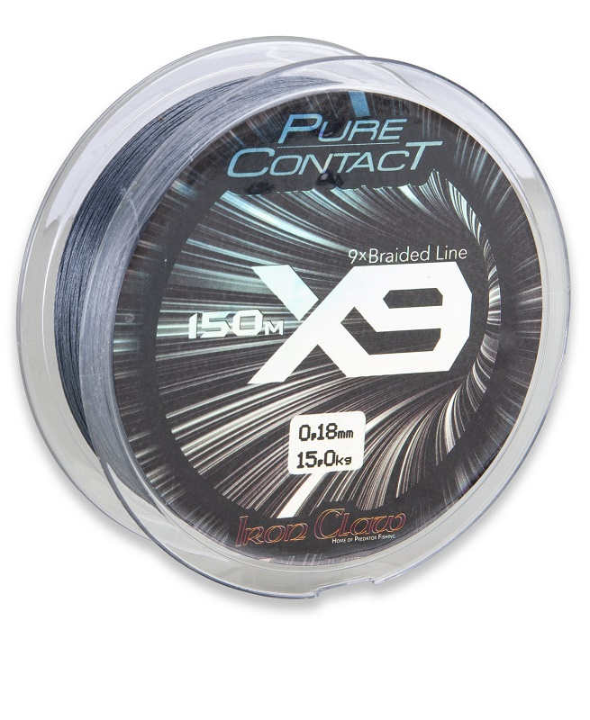 Iron Claw šňůra Pure Contact X9 0,18 mm/1500 m šedá