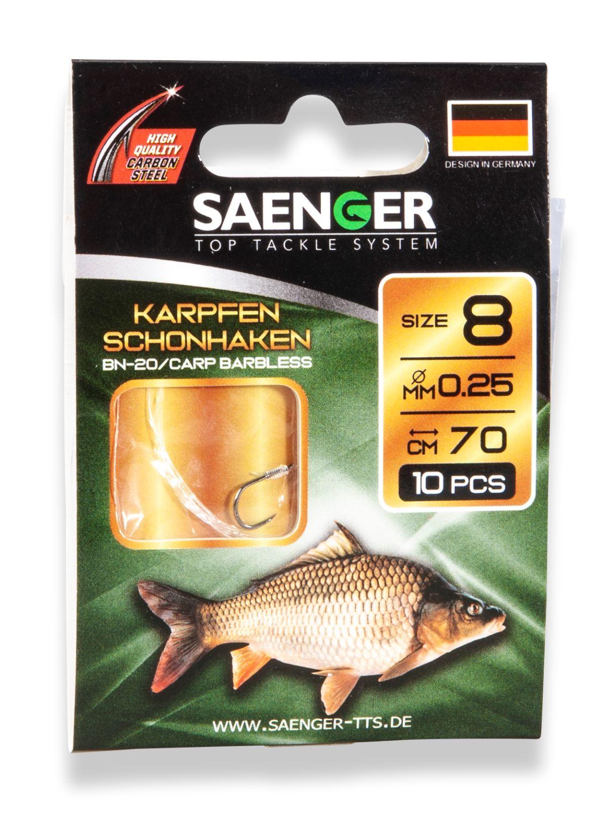 Saenger Návazec na kapry bezprotihrotý Karpfen Schonhaken vel. 8, 10 ks/bal