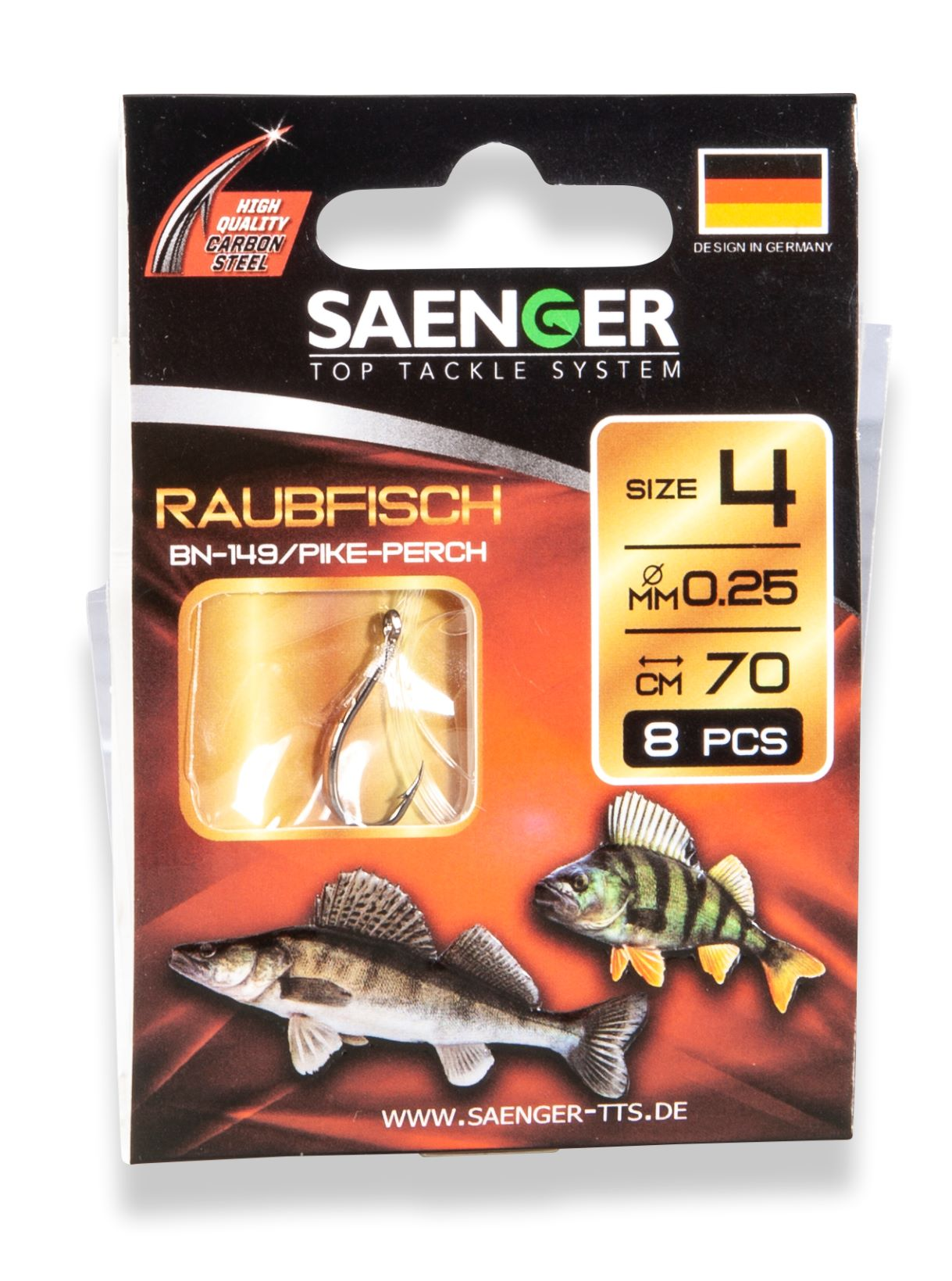 Saenger Návazec na chytání dravých ryb Raubfisch vel. 2, 8 ks/bal