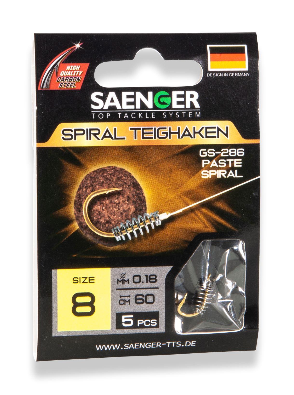 Saenger Návazec pro lov s těstem (háček se spirálou) Teighaken GS-286 vel. 4, 5 ks/bal