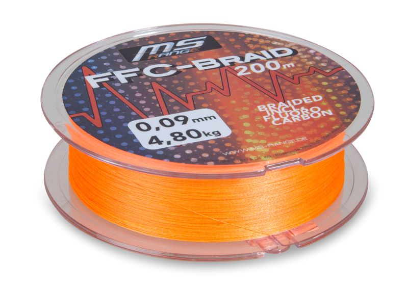 MS Range šňůra FFC-Braid 0,11 mm, 200 m, oranžová