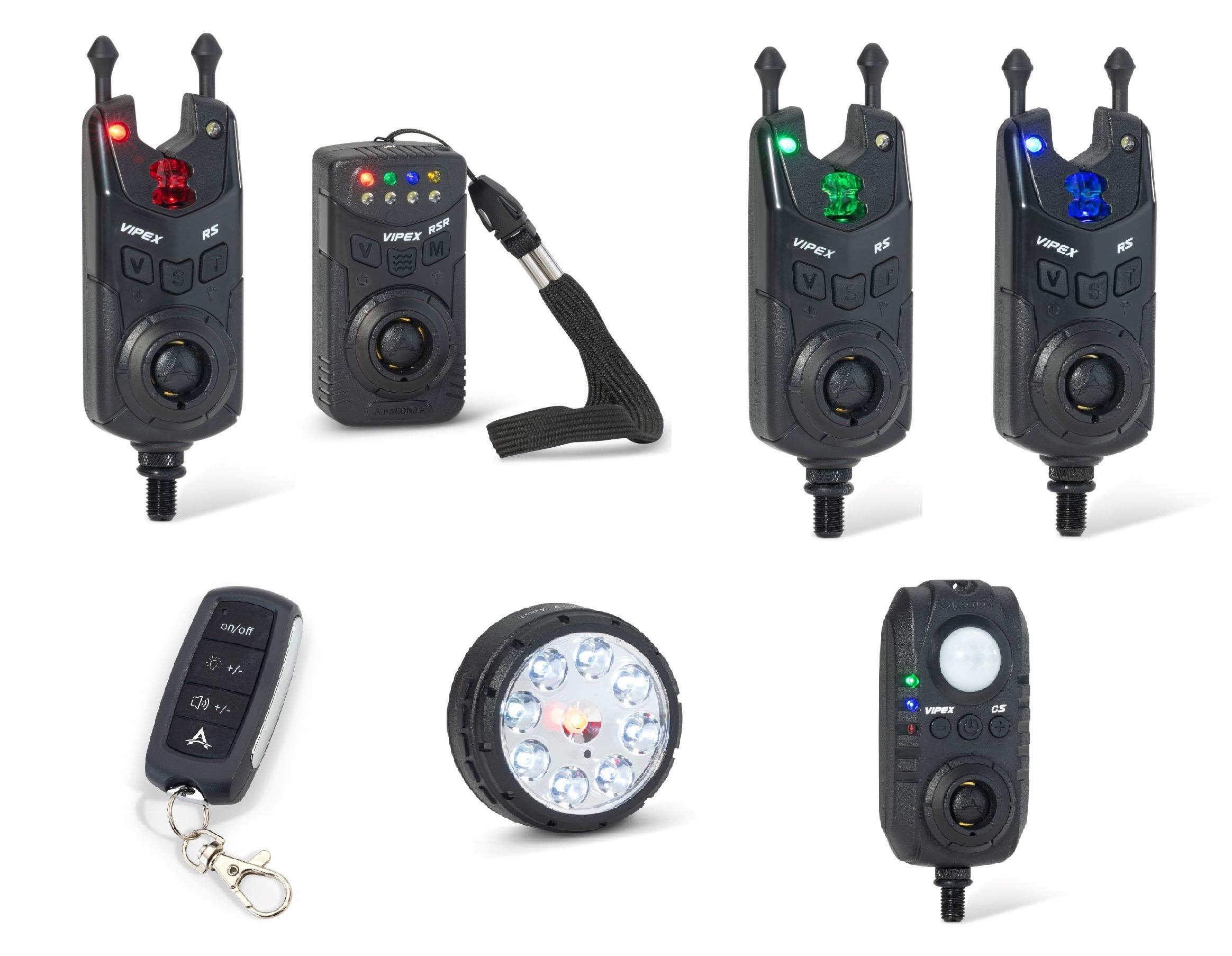 Anaconda sada 3 hlásičů s příposlechem, čidlem pohybu, světlem a dálkovým ovládáním Vipex RS profi set (červená, zelená, modrá)