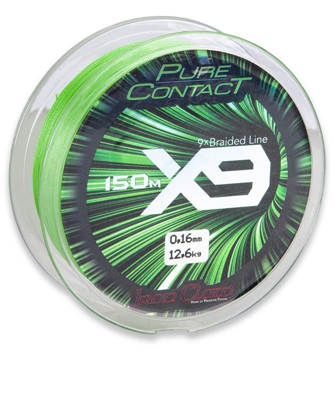 Iron Claw šňůra Pure Contact X9 0,09 mm/150 m zelená