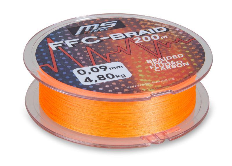 MS Range šňůra FFC-Braid 0,09 mm, 200 m, oranžová