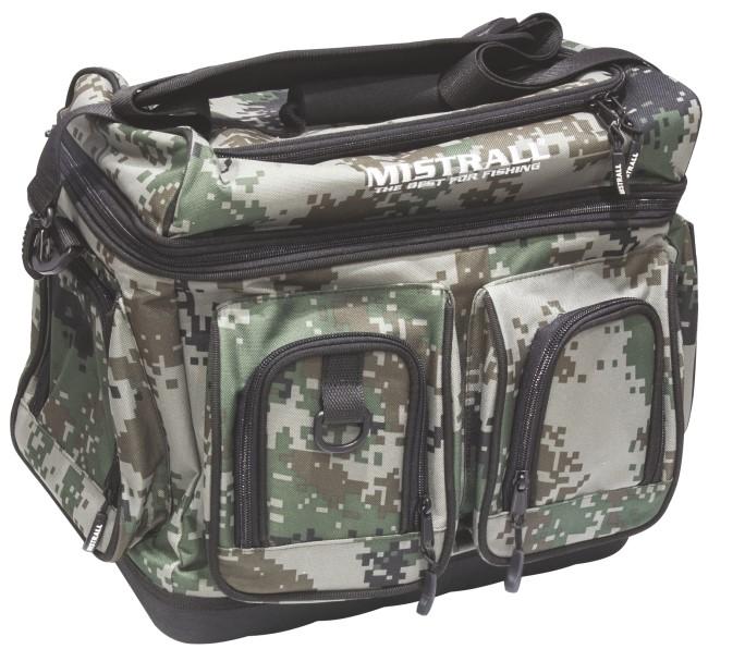 Mistrall rybářská taška s pevným dnem a kapsami, 44x27x35 cm, maskáč