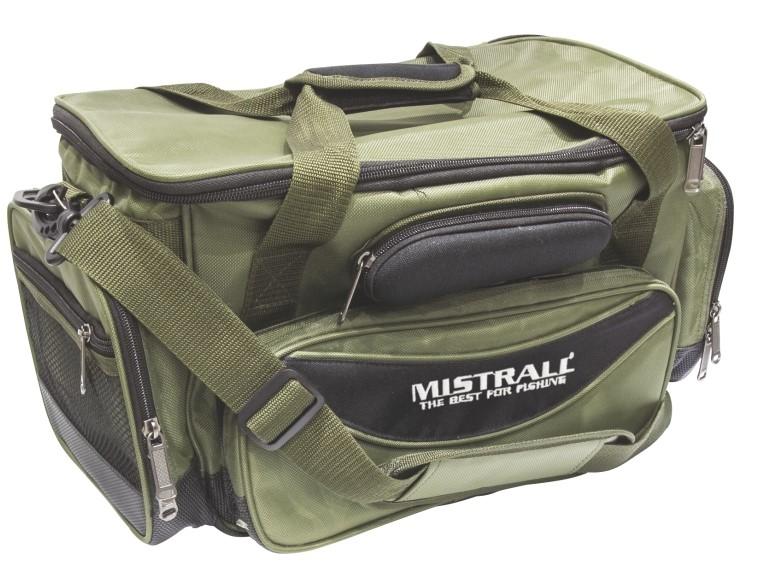 Mistrall rybářská taška s pevným dnem a kapsami, 48x25x24 cm, zelená