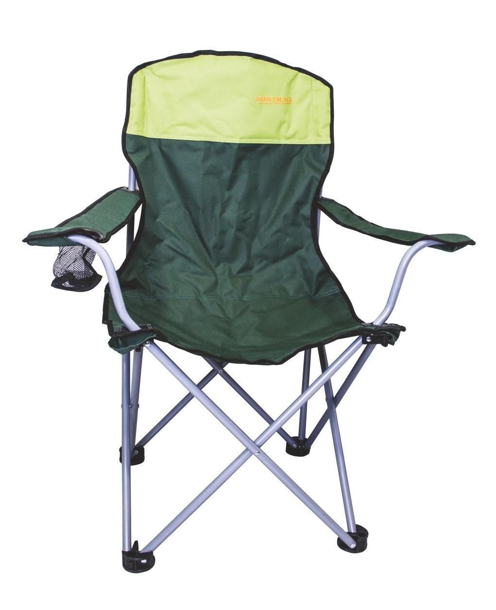 Mistrall rybářská židle žlutozelená s područkami