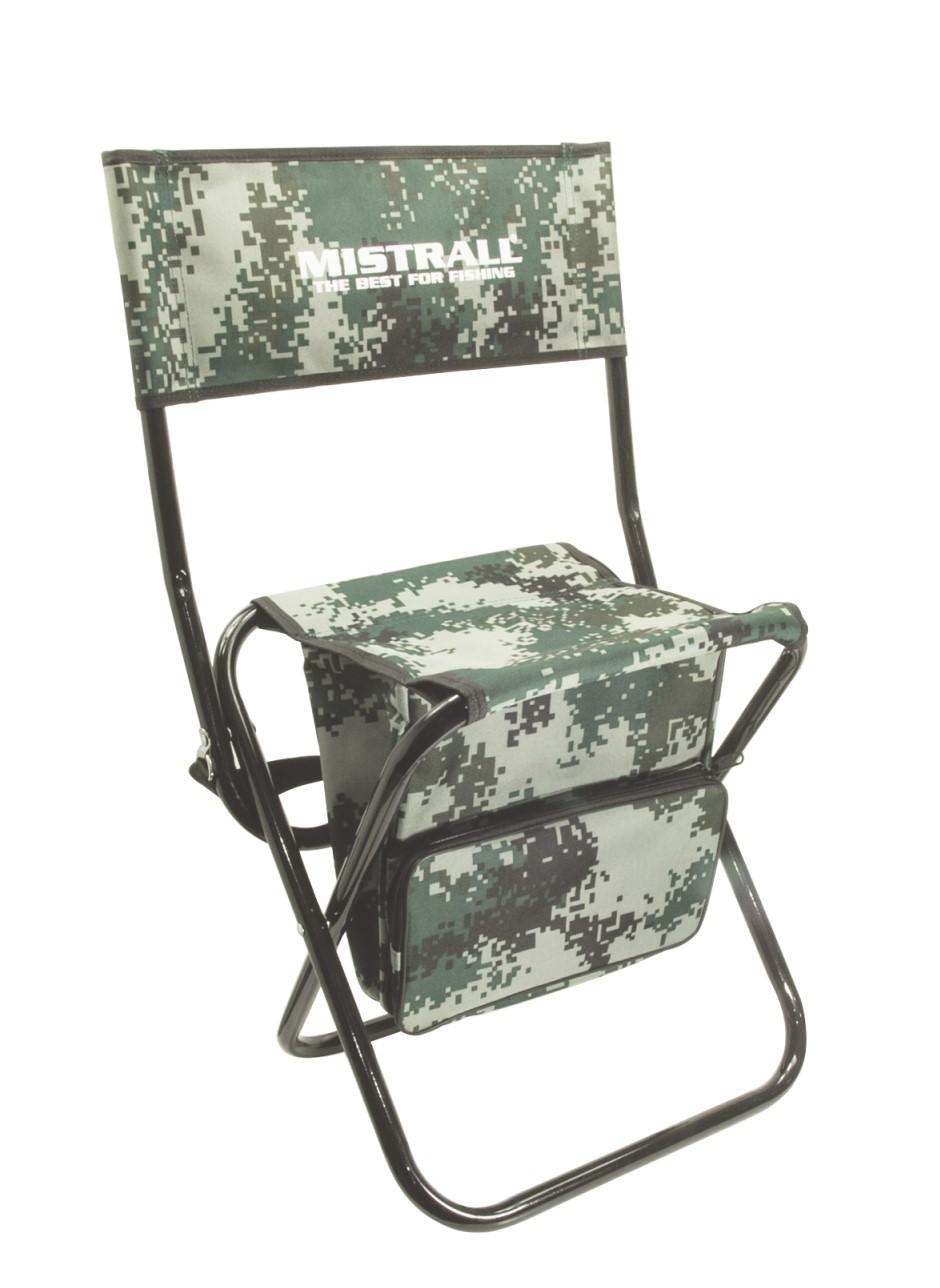 Mistrall rybářská židle s opěrátkem a taškou, maskáč