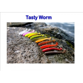 Tasty Worm, 50mm, 0,8g Varianta:  Light red with silver glitter