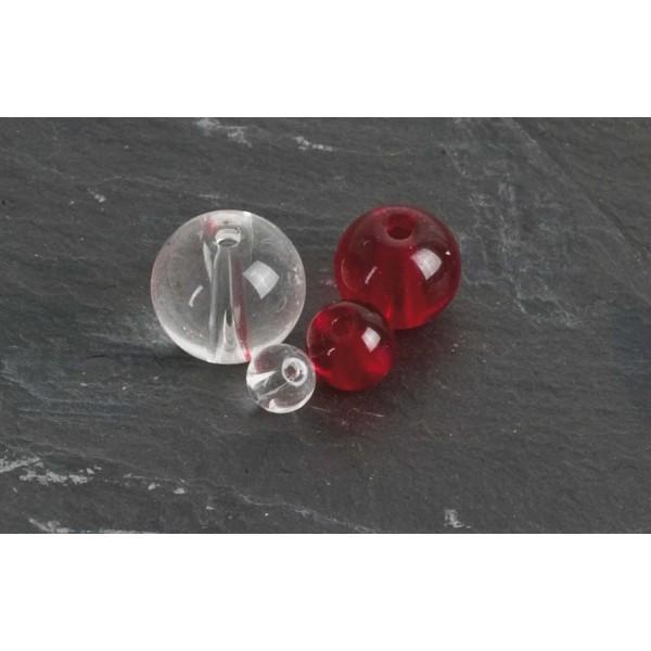 Červené korálky PFS - Round Glass Beads  Velikost 10 mm